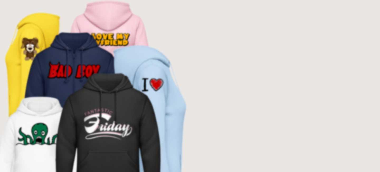 Hoodies in verschiedenen Farben bedruckt mit coolen Motiven