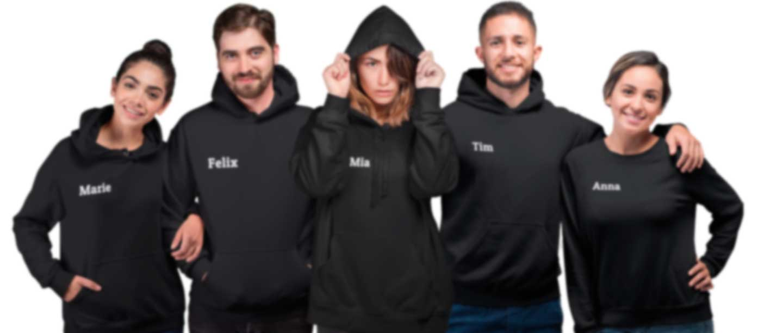 Gruppe von Menschen in Hoodies und Sweatern mit eigenen Namen