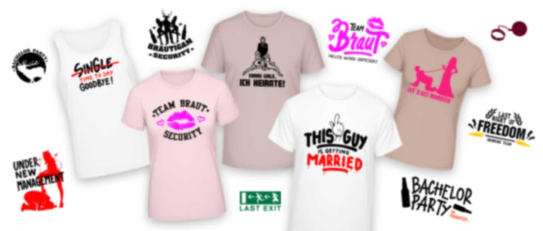 T-Shirts mit verschiedenen Junggesellenabschied Motiven